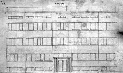 chonelio elkeso ligoninės ir namo fasado brėžinys